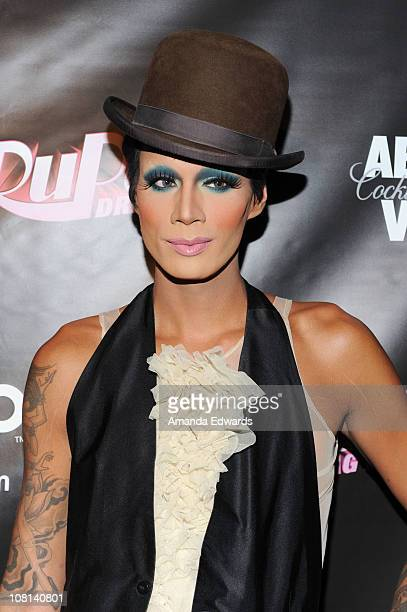 Drag queen Raja arrives at the premiere of 'RuPaul's Drag Race' Season 3 at Rage on January 18 2011 in West Hollywood California