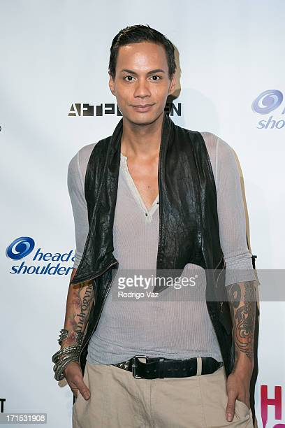 Drag queen Raja Gemini arrives at Logo's 'Hot 100' Party at Drai's Lounge in W Hollywood on June 25 2013 in Hollywood California
