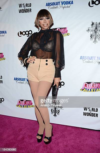 Drag queen Raven arrives at the 'Rupaul's Drag Race All Stars' Premiere Party at The Abbey on October 16 2012 in West Hollywood California