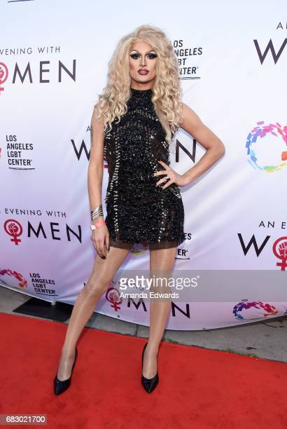 Drag queen Rhea Litre arrives at the Los Angeles LGBT Center's An Evening With Women event at the Hollywood Palladium on May 13 2017 in Los Angeles...
