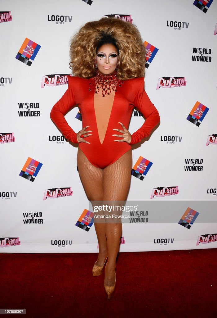 Drag queen Roxxxy Andrews arrives at 'Rupaul's Drag Race' Season 5 Finale, Reunion & Coronation Taping on May 1, 2013 in North Hollywood, California.