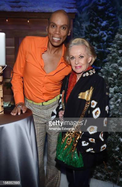 Drag queen RuPaul and actress Tippi Hedren attend the World Of Wonder book release party/birthday bash at The Globe Theatre at Universal Studios on...