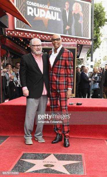 Drag queen RuPaul and his high school drama teacher Bill Pannell attend RuPaul's star ceremony on The Hollywood Walk of Fame on March 16 2018 in...