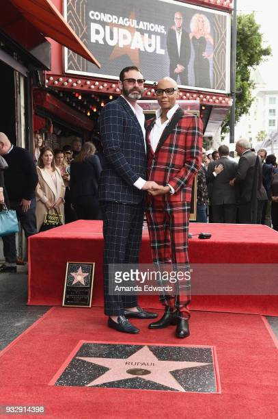 Drag queen RuPaul and his husband Georges LeBar attend RuPaul's star ceremony on The Hollywood Walk of Fame on March 16 2018 in Hollywood California