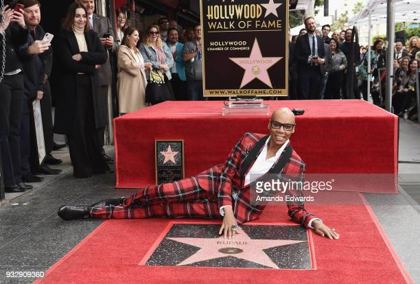 Drag queen RuPaul is honored with a star on The Hollywood Walk of Fame on March 16 2018 in Hollywood California