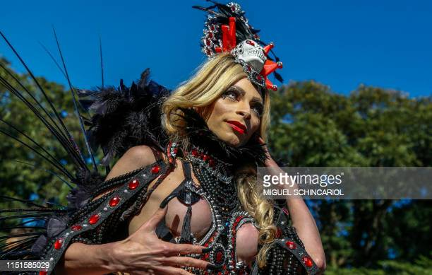 """Drag queen takes part in the 23rd Gay Pride Parade, which theme is """"50 years of Stonewall"""", in Sao Paulo, Brazil on June 23, 2019."""