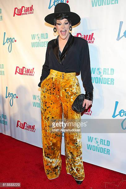 Drag queen Thorgy Thor attends the premiere of Logo's 'RuPaul's Drag Race' season 8 at Mayan Theater on March 1 2016 in Los Angeles California