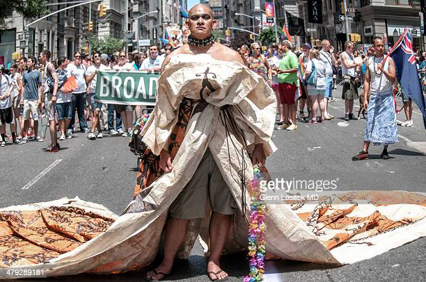 CONTENT] drag queen transvestite marching down Gay parade Manhattan NYC 5th avenue