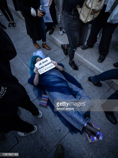 A drag queen who works at night manifests lying on the floor as she participate in a demonstration of Restaurant and bar owners along with...