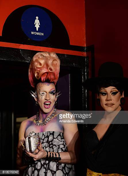 Drag queens Acid Betty and Thorgy Thor arrive at the premiere of Logo's RuPaul's Drag Race Season 8 at The Mayan Theater on March 1 2016 in Los...