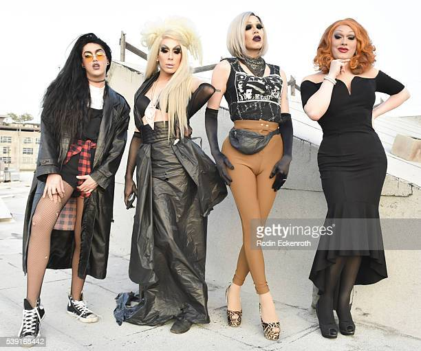 Drag queens Adore Delano Alaska Sharon Needles and Jinkx Monsoon pose for portait during the opening of PEG The Store PEG Records Artist Showcase at...