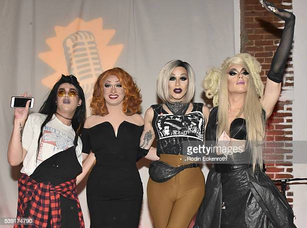 Drag queens Adore Delano Jinks Monsoon Sharon Needles and Alaska attend the opening of PEG The Store PEG Records Artist Showcase at Arts District...