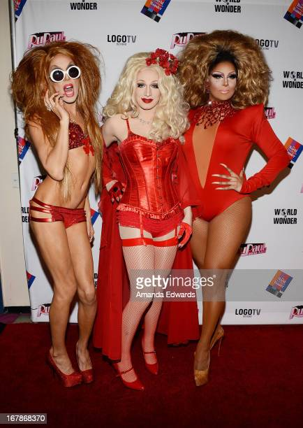 Drag queens Alaska Jinkx Monsoon and Roxxxy Andrews arrive at 'Rupaul's Drag Race' Season 5 Finale Reunion Coronation Taping on May 1 2013 in North...