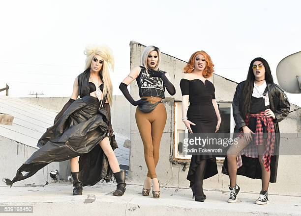 Drag queens Alaska Sharon Needles Jinkx Monsoon and Adore Delano pose for portait during the opening of PEG The Store PEG Records Artist Showcase at...