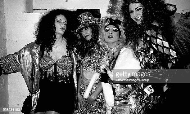 Drag queens and a friend hang out before a fashion show at Flesh in the Hacienda Manchester 1989