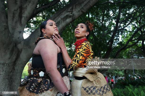 Drag Queens Anita Maka from Tonga and Sarina Leilua from Samoa pose in Hyde Park during the 2020 Sydney Gay & Lesbian Mardi Gras Parade on February...