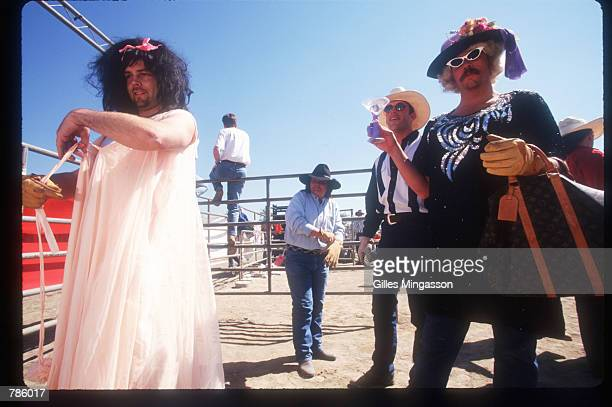 Drag queens attend the Gay Rodeo April 1 1998 in Los Angeles CA One of the events that sets this rodeo apart from others is drag racing where a team...