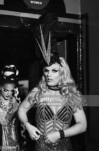 Drag queens Derrick Barry and Cynthia Lee Fontaine arrive at the premiere of Logo's 'RuPaul's Drag Race' Season 8 at The Mayan Theater on March 1...