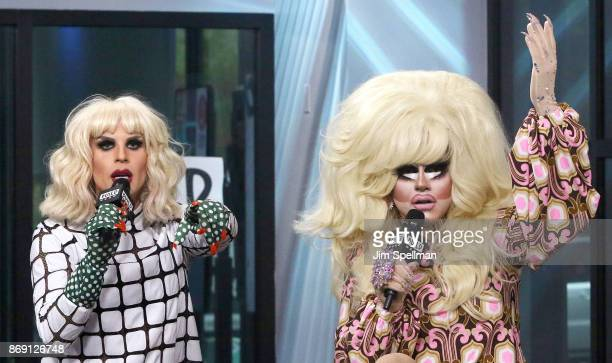 Drag queens Katya Zamolodchikova and Trixie Mattel attend Build to discuss 'The Trixie Katya Show' at Build Studio on November 1 2017 in New York City