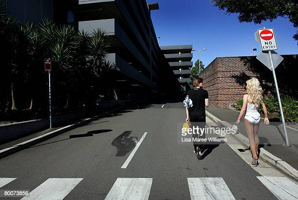Drag queen's Millie Poppins and Summer Salt walk along a street following rehersals at the Hordern Pavilion for the Sydney Gay Lesbian Mardi Gras...