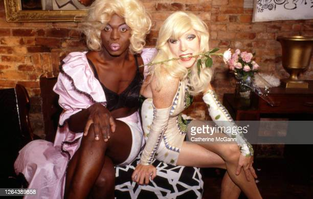 Drag queens Mona Foote and Lahoma Van Zandt pose for a portrait in their apartment in 1989 in New York City, New York.
