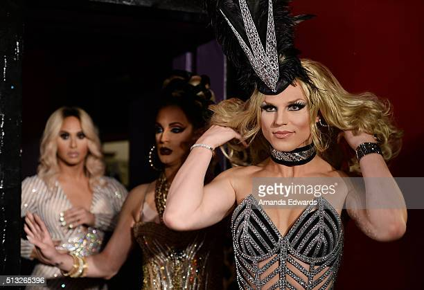 Drag queens Naysha Lopez Cynthia Lee Fontaine and Derrick Barry arrive at the premiere of Logo's 'RuPaul's Drag Race' Season 8 at The Mayan Theater...