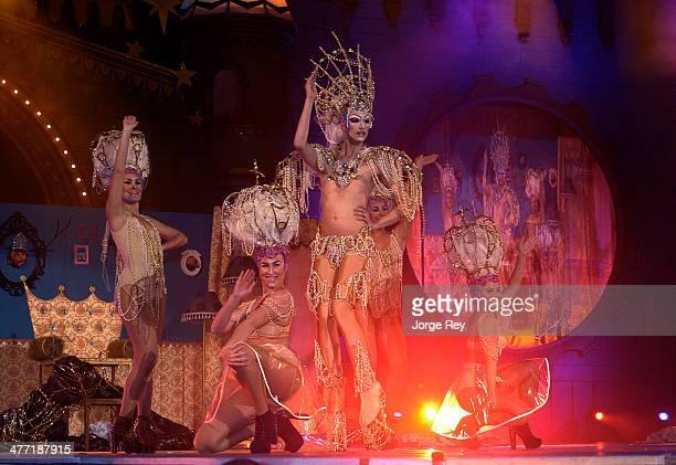 Drag queens onstage at the Drag Queen Gala at Las Palmas Carnival 2014 on March 7 2014 in Las Palmas de Gran Canaria Spain Las Palmas Carnival in the...