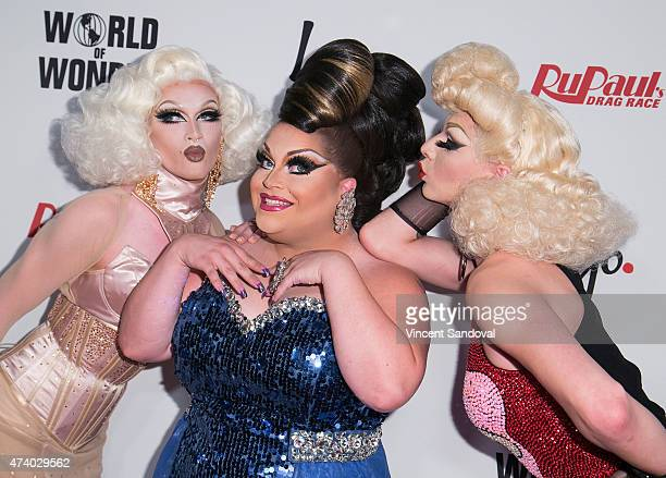 Drag queens Pearl Liaison Ginger Minj and Violet Chachki attend Logo TV's RuPaul's Drag Race season finale event at Orpheum Theatre on May 19 2015 in...
