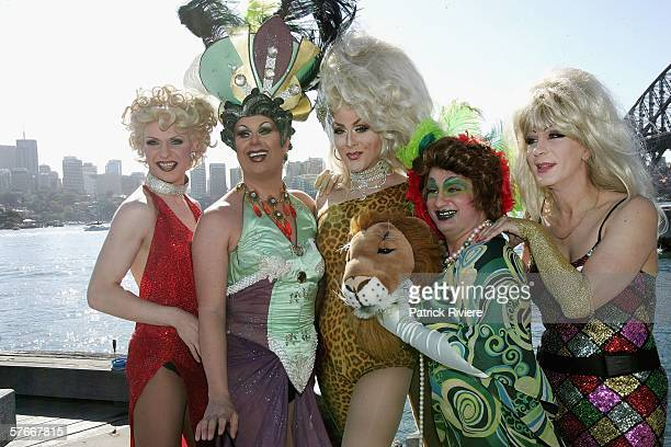 Drag Queens pose for a group photograph before taking part of an audition for the stage production of 'Priscilla Queen Of The Desert' at the Bangarra...