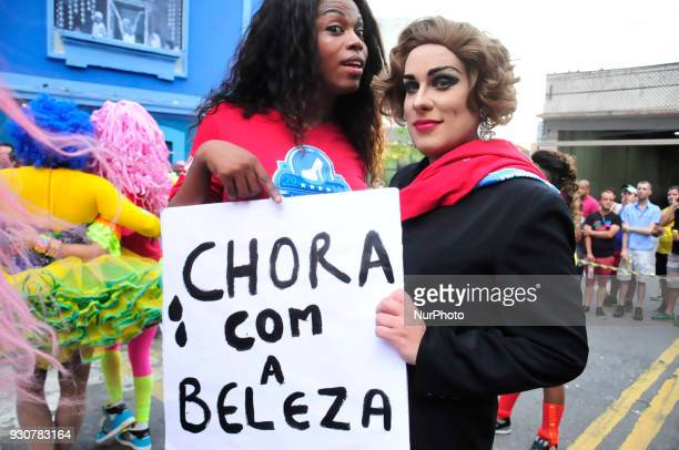 Drag Queens prepare for the lay openair football in celebration of a nightclub birthday in Sao Paulo Brazil on 12 March 2018