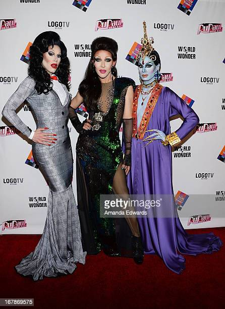 Drag queens Sharon Needles Chad Michaels and Raja arrive at 'Rupaul's Drag Race' Season 5 Finale Reunion Coronation Taping on May 1 2013 in North...