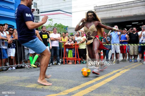 Drag Queens take part at the lay openair football in celebration of a nightclub birthday in Sao Paulo Brazil on 12 March 2018