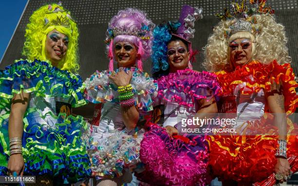 """Drag queens take part in the 23rd Gay Pride Parade, which theme is """"50 years of Stonewall"""", in Sao Paulo, Brazil on June 23, 2019."""