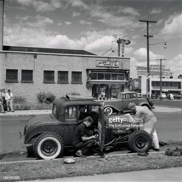 Spokane Washington. Hot Rodders Work On