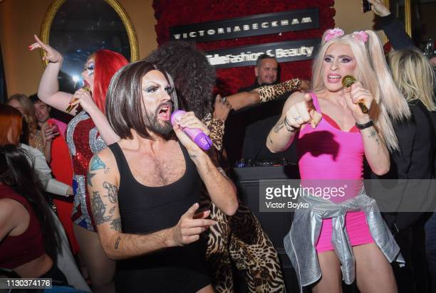 Drag tribute act 'Spice Gurrls' perform at the Victoria Beckham x YouTube Fashion Beauty After Party at London Fashion Week hosted by Derek Blasberg...