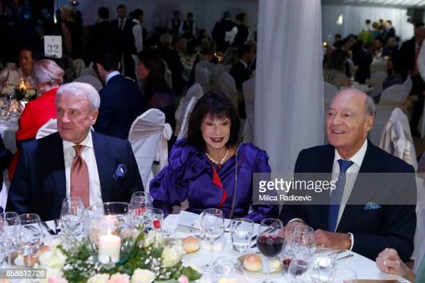 Dragan Babic princes Elizabeth Karadjordjevic prince Amyn Aga Khan during the wedding of Prince Philip Of Serbia And Danica Marinkovic at The White...