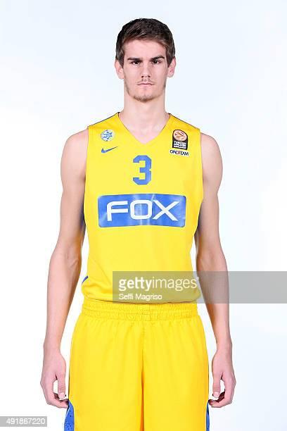 Dragan Bender #3 of Maccabi Fox Tel Aviv during the 2015/2016 Turkish Airlines Euroleague Basketball Media Day at Menora Mivtachim Arena on October 8...