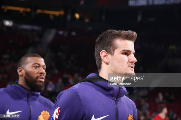 Dragan Bender and Greg Monroe of the Phoenix Suns get introduced before the game against the Portland Trail Blazers on January 16 2018 at the Moda...
