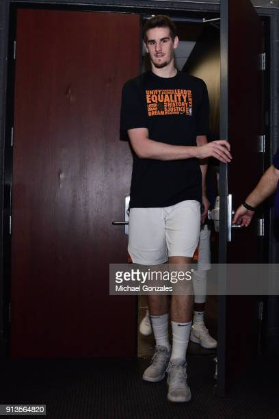 Dragan Bender of the Phoenix Suns arrives before the game against the Utah Jazz on February 2 2018 at Talking Stick Resort Arena in Phoenix Arizona...
