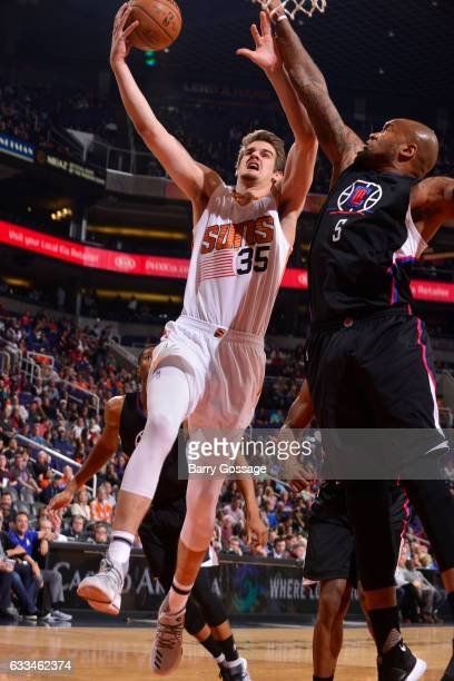 Dragan Bender of the Phoenix Suns goes up for a lay up against the LA Clippers on February 1 2017 at Talking Stick Resort Arena in Phoenix Arizona...