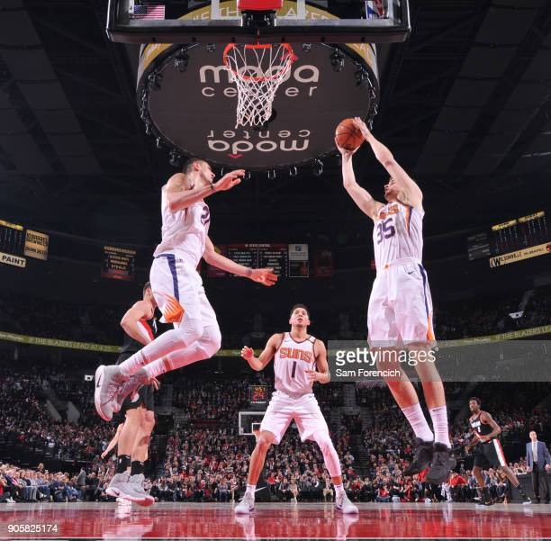 Dragan Bender of the Phoenix Suns grabs the rebound against the Portland Trail Blazers on January 16 2018 at the Moda Center in Portland Oregon NOTE...