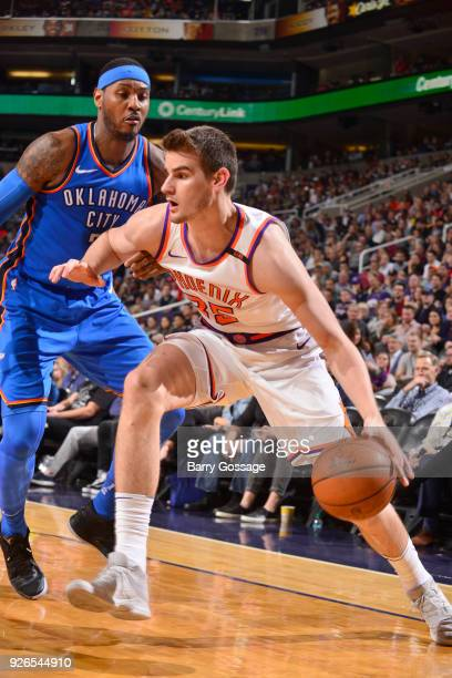 Dragan Bender of the Phoenix Suns handles the ball against the Oklahoma City Thunder on March 2 2018 at Talking Stick Resort Arena in Phoenix Arizona...