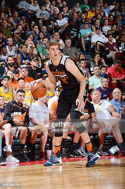 Dragan Bender of the Phoenix Suns handles the ball against the Portland Trail Blazers during the 2016 NBA Las Vegas Summer League game on July 9 2016...