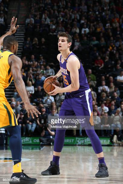 Dragan Bender of the Phoenix Suns handles the ball against the Utah Jazz on March 15 2018 at vivintSmartHome Arena in Salt Lake City Utah NOTE TO...
