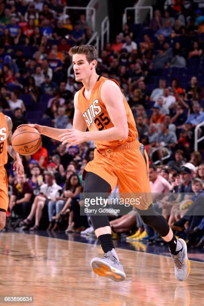 Dragan Bender of the Phoenix Suns handles the ball during the game against the Houston Rockets on April 2 2017 at US Airways Center in Phoenix...