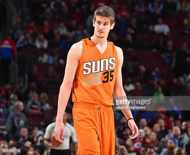 Dragan Bender of the Phoenix Suns looks on against the Philadelphia 76ers a game at the Wells Fargo Center on November 19 2016 in Philadelphia...