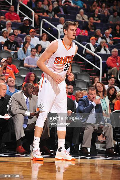 Dragan Bender of the Phoenix Suns looks on against the Utah Jazz on October 5 2016 at Talking Stick Resort Arena in Phoenix Arizona NOTE TO USER User...