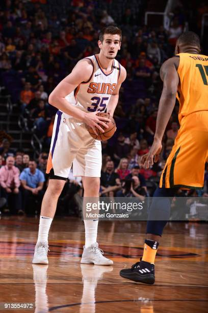 Dragan Bender of the Phoenix Suns passes the ball during the game against the Utah Jazz on February 2 2018 at Talking Stick Resort Arena in Phoenix...