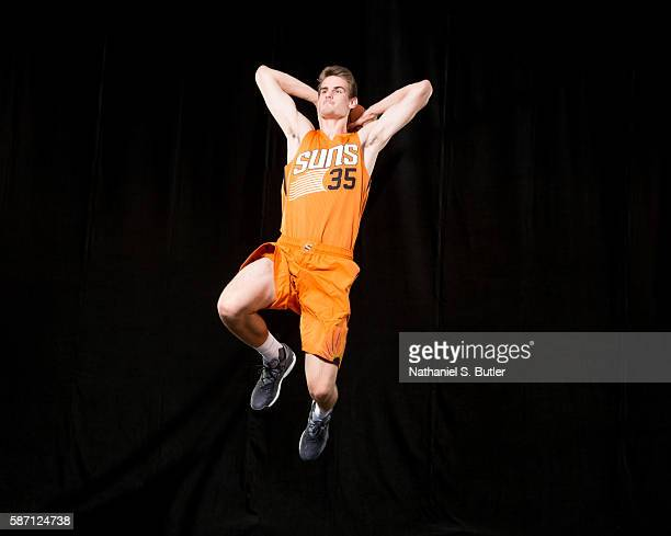 Dragan Bender of the Phoenix Suns poses for a portrait during the 2016 NBA rookie photo shoot on August 7 2016 at the Madison Square Garden Training...