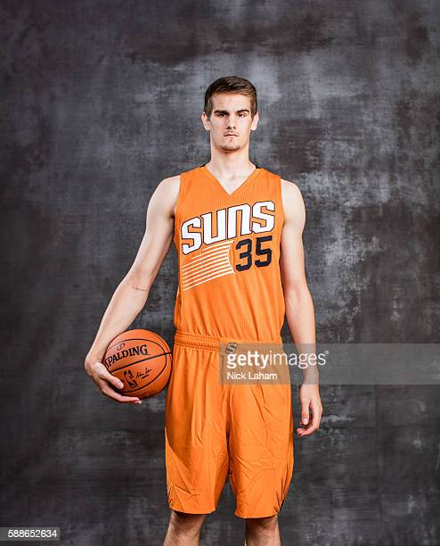 Dragan Bender of the Phoenix Suns poses for a portrait during the 2016 NBA Rookie Photoshoot at Madison Square Garden Training Center on August 7...